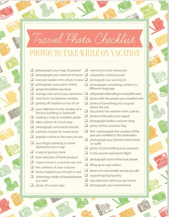 FREE Downloadable Travel Photos Checklist: Photos to Take While on Vacation from