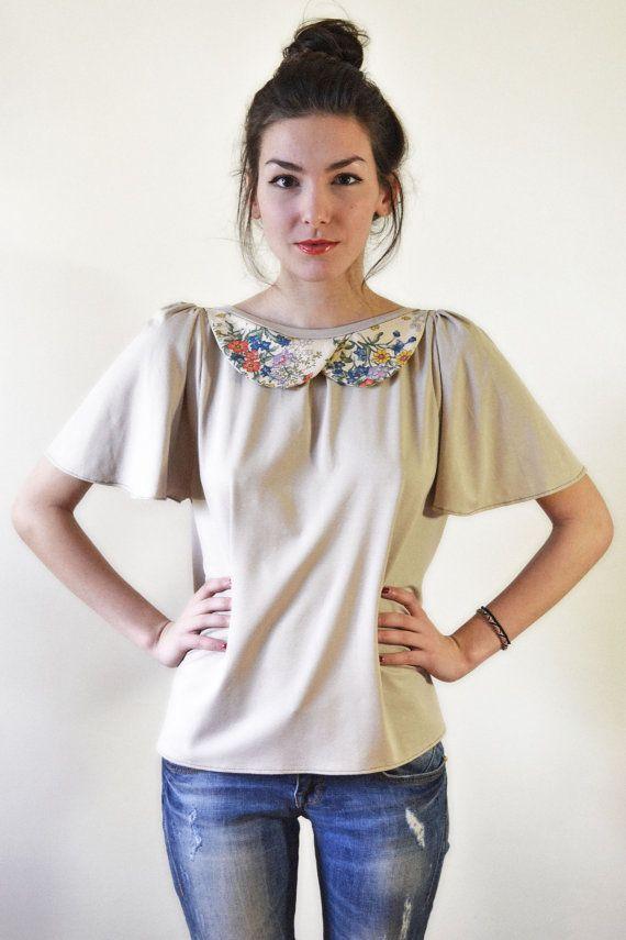 Open back beige blouse//floral collar// S,M,L