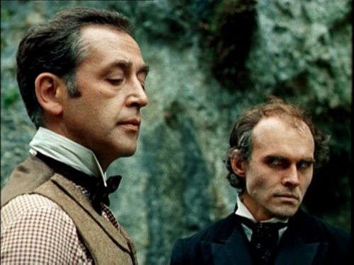 """thegamesahoot: """" Regrettably I didn't have room for this fantastic shot of Holmes with Moriarty in my Russian/Granada picspam. :( """" This is beautiful."""