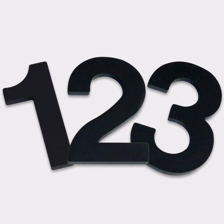 """3D Hausnummer Aluminium """"Helvetica"""" RAL 7016 Anthrazit; Höhe der Ziffern: 10cm, 16cm, 20cm, 30cm oder 50cm;  Blechstärke: 10mm;  Buchstaben sind entsprechend der Schriftart kleiner;  Witterungsfestes Aluminium, Hochwertig pulverbeschichtet"""