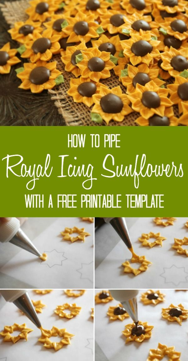 Learn to pipe royal icing sunflowers using a free printable template via Sweetsugarbelle.com