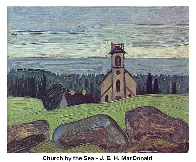 In the 1920's J.E.H. MacDonald came to Petite with Lewis Smith and his sister Edith. All were artists, and MacDonald was one of the famous Canadian Group of Seven. Together they created paintings of Petite Riviere's bridge, the ocean, United Church, and many other buildings. Later in the twentieth century John Cook and Joan Dewar added to the list of professional artists working in Petite.