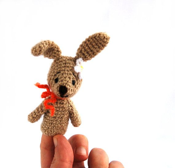 $21.46  bunny finger puppet, #crochet #rabbit #puppet, #gift for #Easter, #pretend #play, #storytelling for #children, #educational #toy, #puppet #show #animal, #tiny #gift