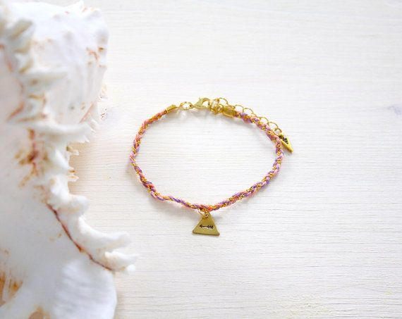 Peach, Lilac & Gold Friendship Anklet with Hand Stamped Arrow Charm - Hippie, Bohemian Anklet - Festival Anklet - Festival Jewellery