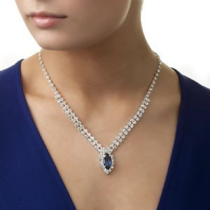 Newbridge Silverware Rhinestone Necklace with Blue Stone