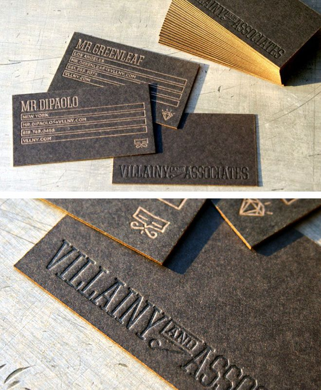 Love these cards in letterpress black with gold edges.