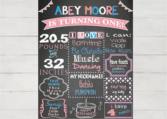 First birthday girl 1st Birthday Chalkboard by LaminitasPrintables