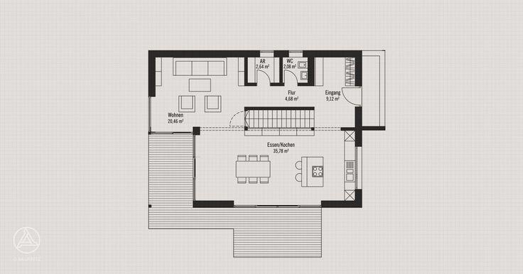 Erdgeschoss - Modernes Holz-Bauhaus PlanMit Entwurf Bauhaus 148 m²