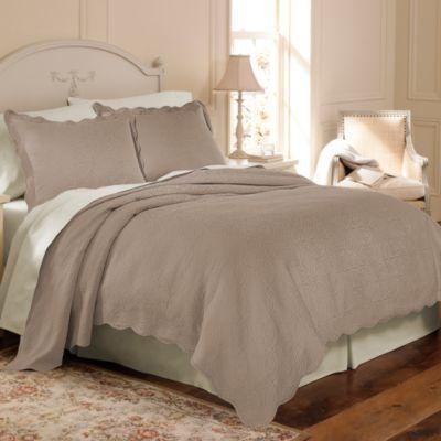 Matelasse Coventry Taupe Coverlet Set, 100% Cotton - BedBathandBeyond.com