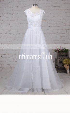 2bdf11c7a33 A Line Scoop Neck Tulle Sweep Train Appliques Lace Wedding Dress ...