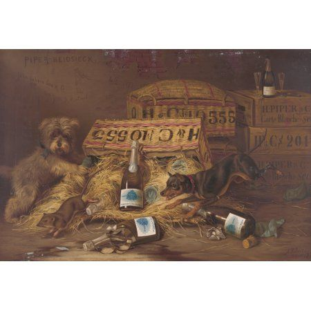 Two dogs chasing mouse through open case of champagne c1887 Canvas Art - Herman Bencke (18 x 24)