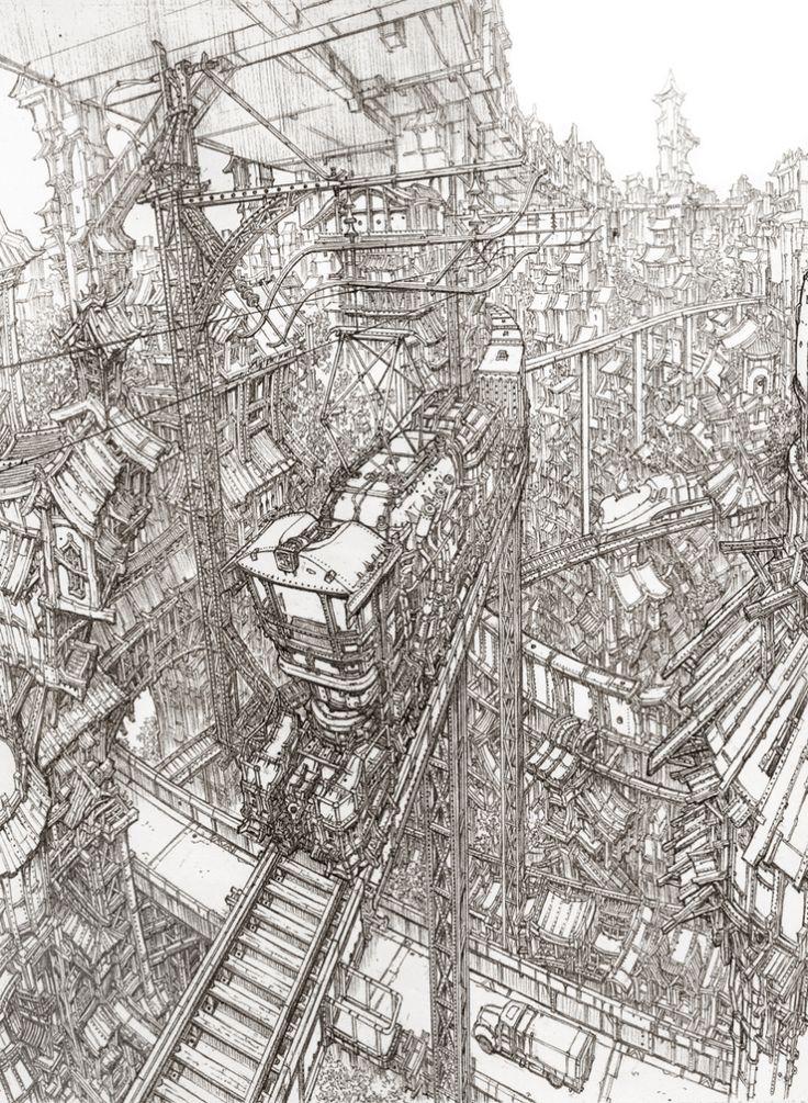_ Super domineering line art scene of the original painting Dream Resource…