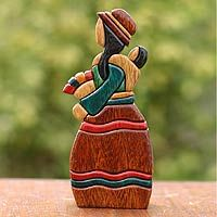 """Selling Flowers"". This young mother carries her baby on her back as she sells freshly cut flowers to passersby. Carving native Andean woods, John Barrow creates this stylized portrait. It receives its bright colors from wood stains and gilt to form part of a series called ""Folklore."" via Novica"