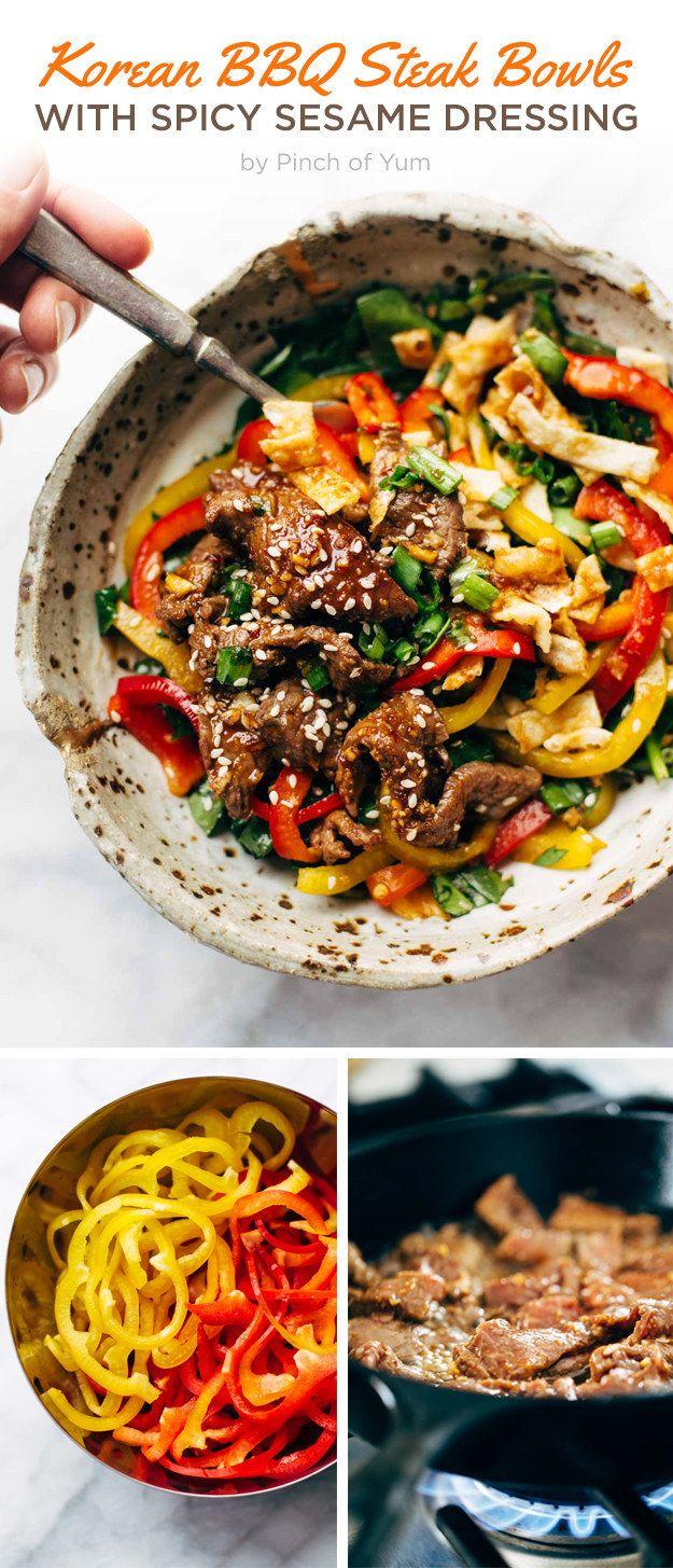 Korean BBQ Steak Bowls with Spicy Sesame Dressing