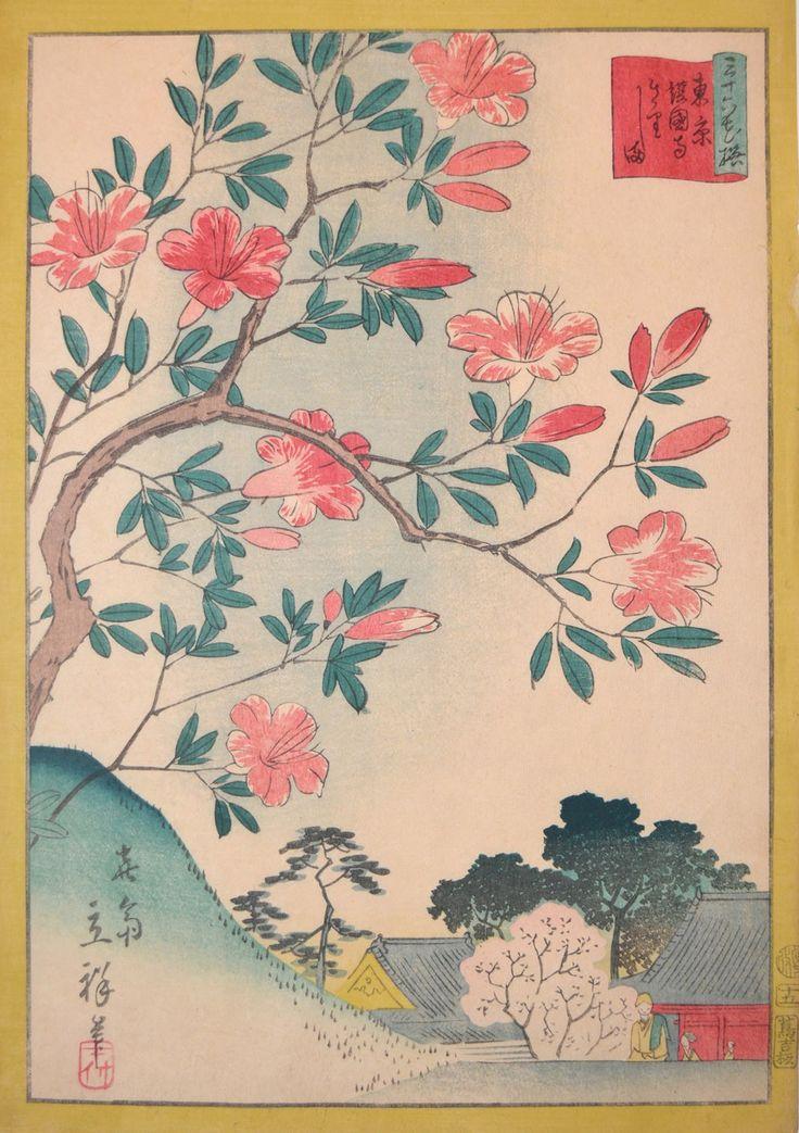 Hiroshige II (1826-1869) - Azaleas at Gokoku-ji Temple in Tokyo, 1866