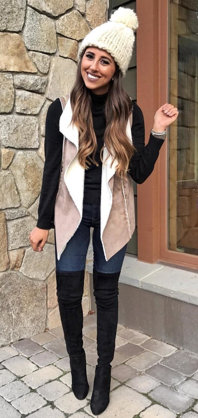 #winter #outfits women's brown bobble hat, long-sleeeved shirt, blazer, and pair of black knee-high boots. Click To Shop This Look.