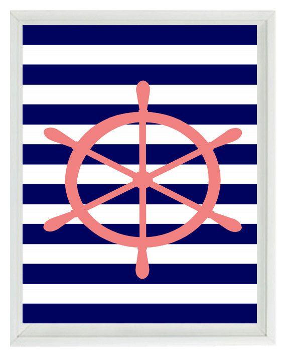 Beach Nautical Wheel Art Print - Pink Navy Blue White Stripes Nursery Girl Room -Wall Art Home Decor  8x10. $15.00, via Etsy.