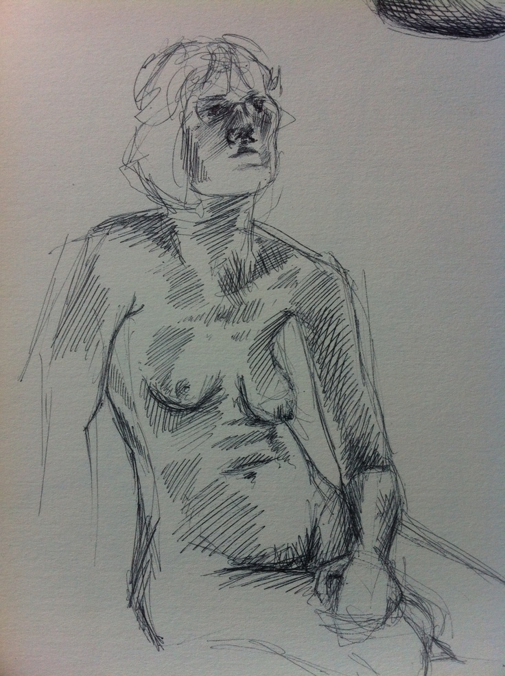 Struggling to draw a decent face. Life drawing in biro at ARU, 2007