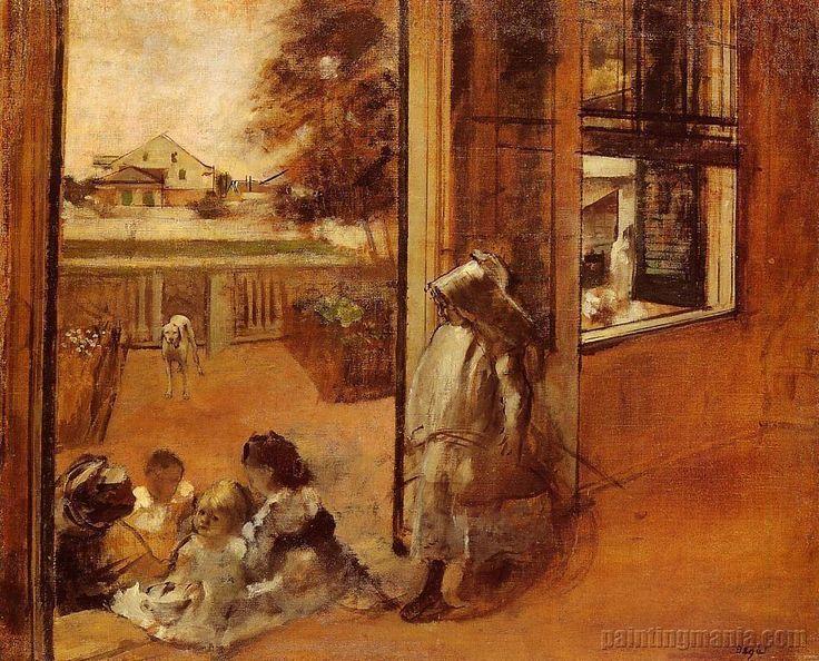 Children On A Doorstep by Edgar Degas