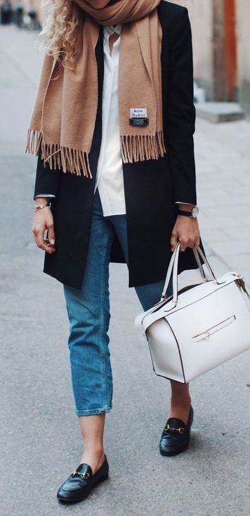 #fall #outfits / camel knit + black coat