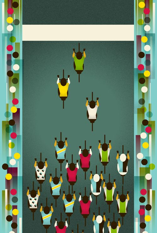 Tour de france bicycle art by Eleanor Grosch, love the perspective and the simplified forms!