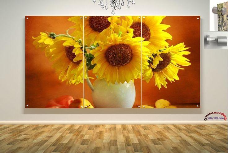 Wall Art Decor Floating Acrylic Glass Plexiglass Modern Art Flower Daises  #Handmade #Modern