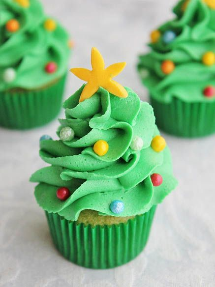 Mini Christmas Tree Cupcakes by Lydia Bakes