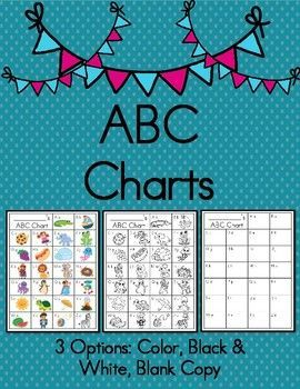 ABC Chart Printable  Color, Black U0026 White, U0026 Blank Copy