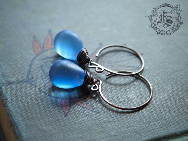 Fairy Drop Earrings. Simple Rustic Everyday Czech Glass Hoop Drop Earrings in Copper. Sea glass