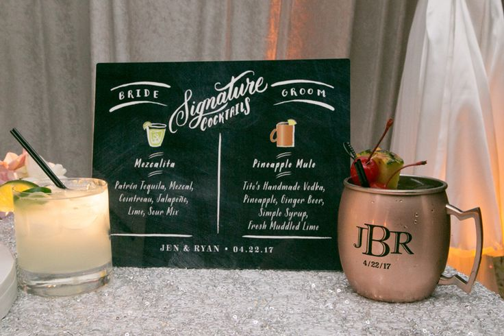 Signature cocktail idea and chalkboard sign (Jeff Kolodny Photography)
