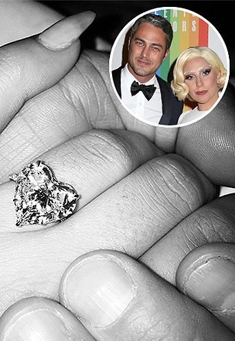Lady Gaga's heart-shaped engagement ring (click through for 12 of the  most unique celebrity rings)