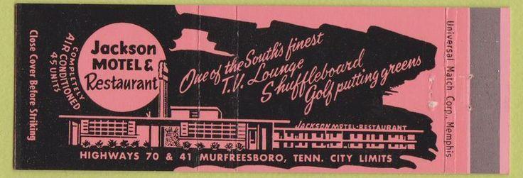 Matchbook Cover - Jackson Motel Restaurant Murfreesboro TN