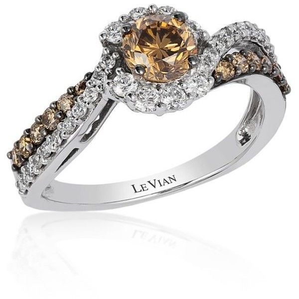 Le Vian Chocolate Chocolate Diamond And Vanilla Diamond Cluster Ring... ($1,628) ❤ liked on Polyvore featuring jewelry, rings, chocolate, enhancer ring, chocolate gold rings, yellow gold rings, gold diamond cluster ring and chocolate rings