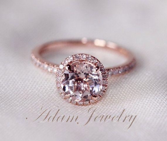 Round Cut 7mm VS Halo Morganite Ring 14K Rose Gold SI/H Diamonds Wedding Ring /Engagement Ring/ Promise Ring/ Anniversary Ring on Etsy, $380.00