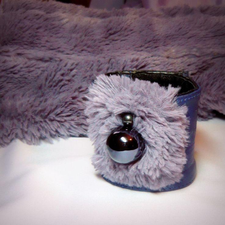 Handmade by Judy Majoros - Purple leather beaded-faux fur bracelet -cuff, Recycled bracelet
