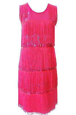 1920s Great Gatsby Flapper Sequin Fringe Tassel Deco Party Dress Black FBE-FN690