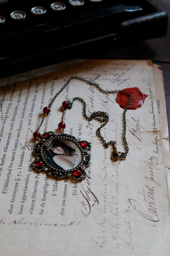 Exquisite SIGNED Gothic Framed Art Necklace  by Mizzdraconia, $49.00