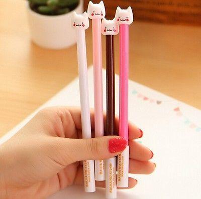 FD904-Funny-Stationery-Pen-Cute-Cat-Head-Ball-Point-Pen-Random-Color-1PC
