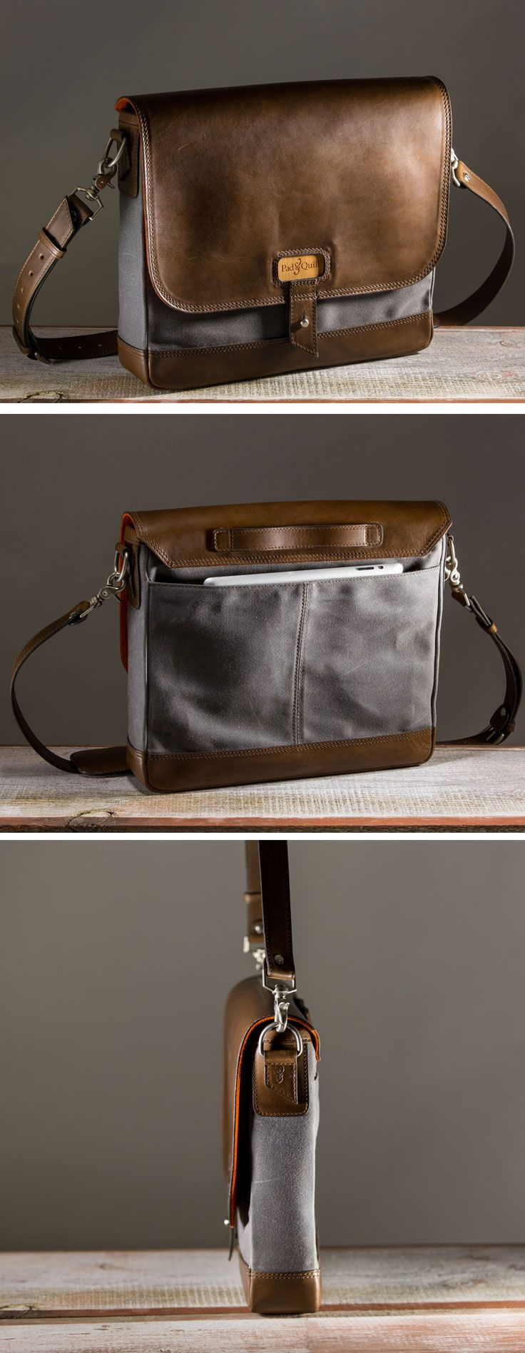 full grain American cowhide leather and hefty twill woven waxed canvas #satchel #bags
