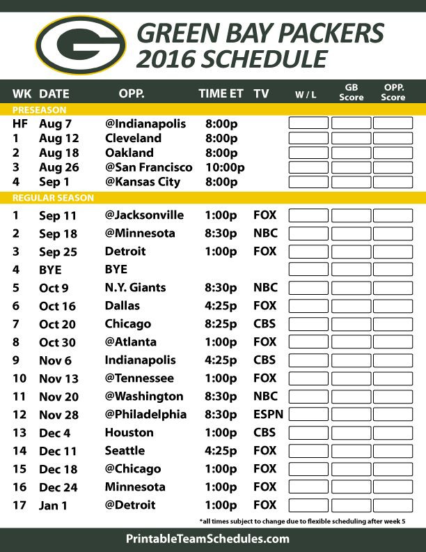 2016-17 Green Bay Packers Schedule