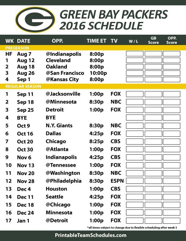 2016-17 Green Bay Packers Schedule