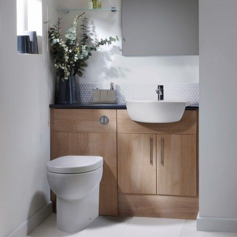 Aruba light walnut fitted bathroom furniture. Maximise space using the slimline bathroom furniture available from Roper Rhodes