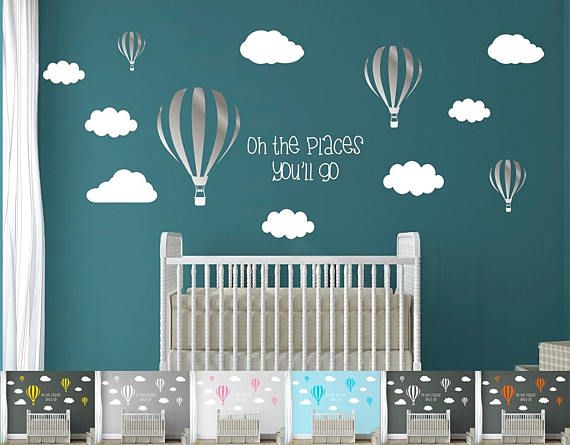 Kids Nursery Room Air Balloons Clouds & Quote Large Pack Pro