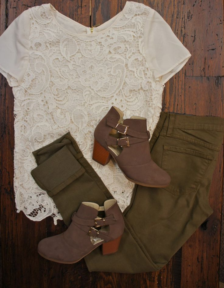Army Green Jeggings, Lace Top, Ankle Boots.