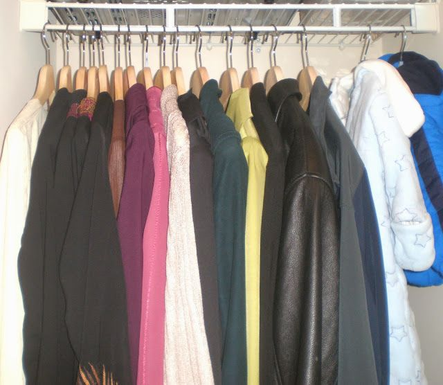 Realistic Coat Closet Organization - Wooden hangers make a HUGE difference