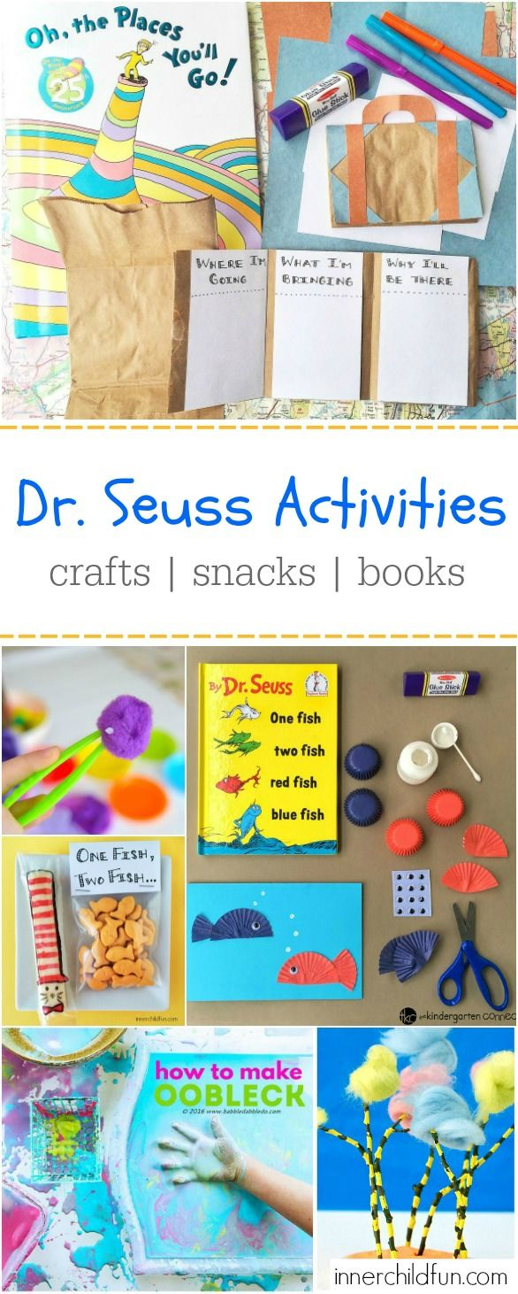 Dr. Seuss Activities including crafts and snacks that theme with the books. The kids are going to love this!