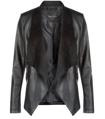 """Switch last season's biker jacket for this chic suedette contrast design. Perfect from day to night.- Casual fit- Leather-look finish- Suedette lapels- Open front design- Model is 5'8""""/176cm and wears UK 10/EU 38/US 6"""