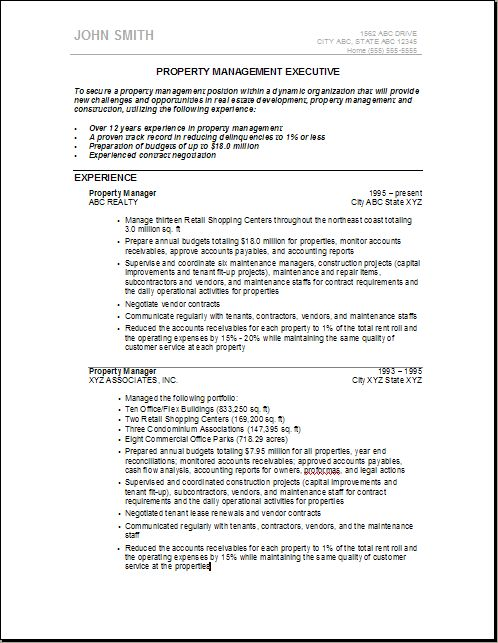 real estate property for assistant property manager resume template