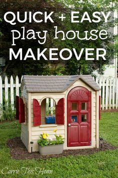 A little paint makes a huge difference! Perfect for those yard sale finds!  Little Tikes House Makeover