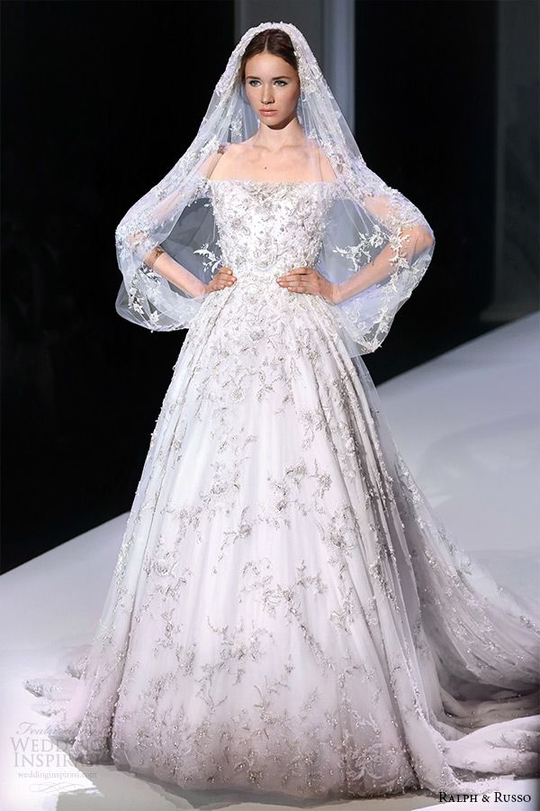 ralph and russo spring 2015 couture collection off the shoulder beaded applique white wedding ball gown